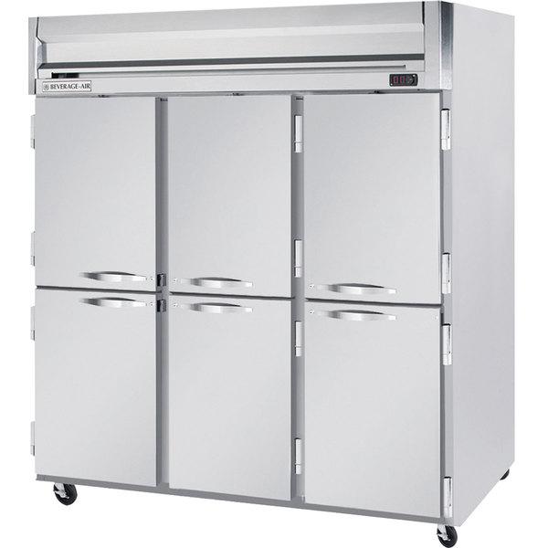 "Beverage-Air HFS3-5HS Horizon Series 78"" Solid Half Door Reach-In Freezer with Stainless Steel Interior Main Image 1"