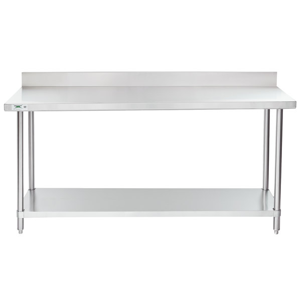 regency 24 x 72 16 gauge stainless steel commercial work table with 4 backsplash and undershelf