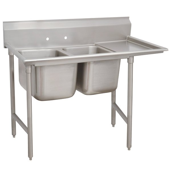 """Right Drainboard Advance Tabco 93-62-36-24 Regaline Two Compartment Stainless Steel Sink with One Drainboard - 68"""""""
