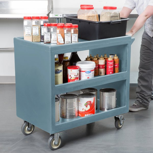 "Cambro BC235 Slate Blue Three Shelf Service Cart - 37 1/4"" x 21 1/2"" x 34 5/4"""