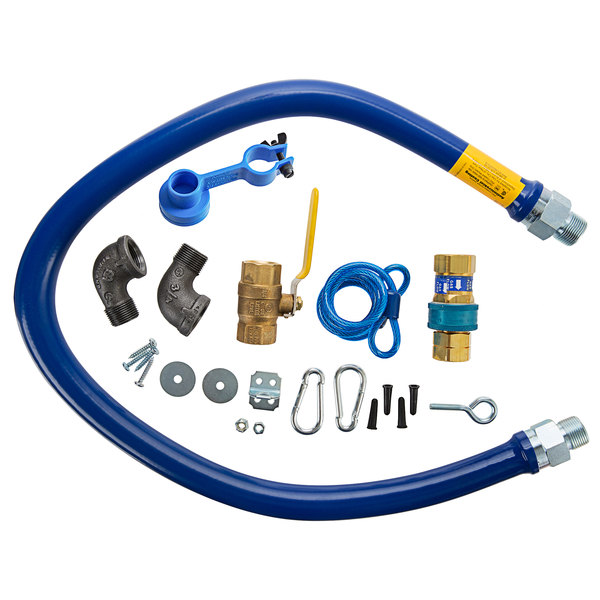 """Dormont 1675KIT48 Deluxe 48"""" Moveable Gas Connector Kit with SnapFast® Quick Disconnect, Two Elbows, and Restraining Cable - 3/4"""" Diameter Main Image 1"""