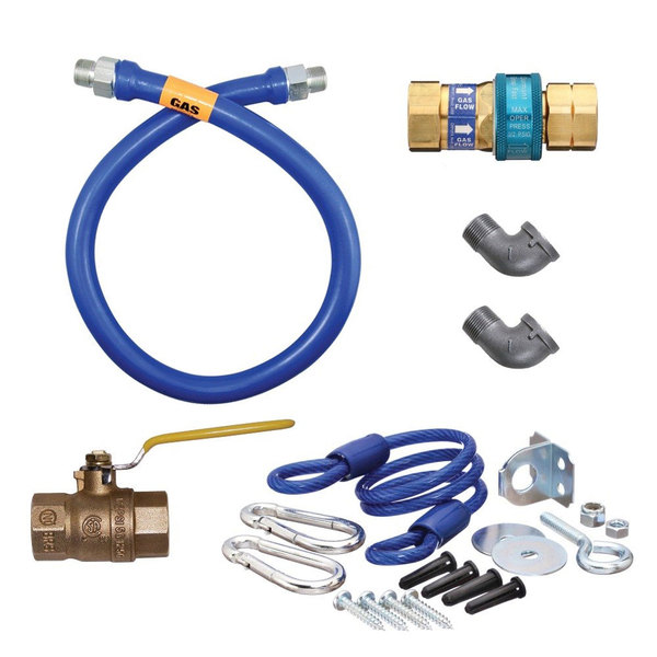 "Dormont 1675KIT48 Deluxe SnapFast® 48"" Gas Connector Kit with Two Elbows and Restraining Cable - 3/4"" Diameter"