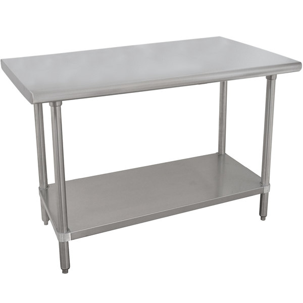 """Advance Tabco VSS-244 24"""" x 48"""" 14 Gauge Stainless Steel Work Table with Stainless Steel Undershelf"""