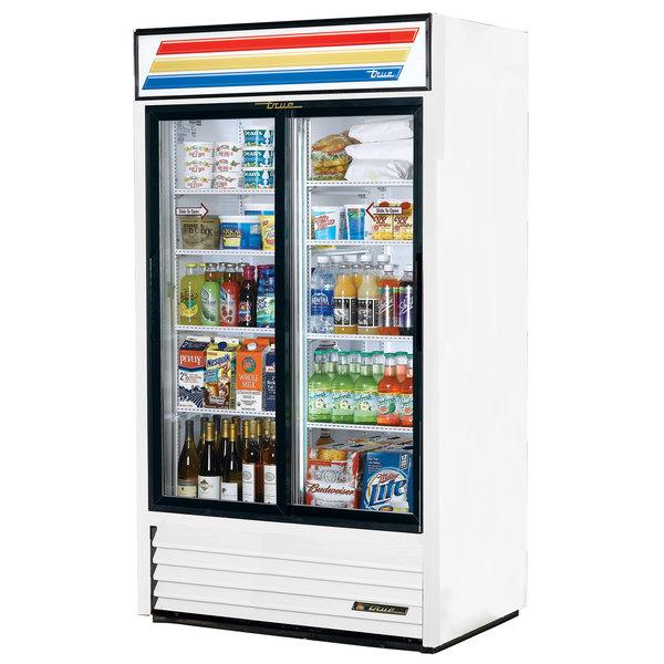 True GDM-37-LD White Refrigerated Sliding Glass Door Merchandiser with LED Lighting