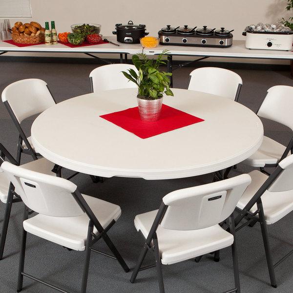 "Lifetime Round Folding Table, 60"" Plastic, Almond - 4/Pack"