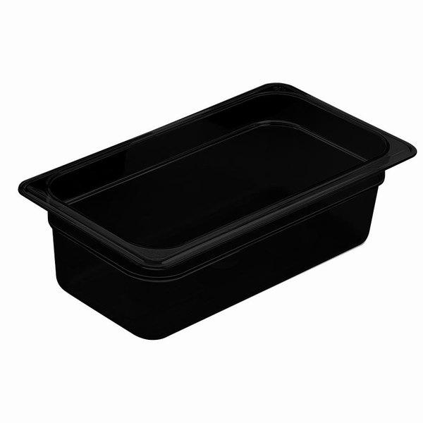 Cambro 46HP110 H-Pan 1/4 Size Black High Heat Food Pan - 6 inch Deep