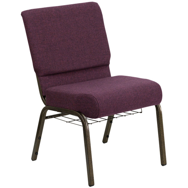 "Flash Furniture FD-CH0221-4-GV-005-BAS-GG Plum 21"" Extra Wide Church Chair with Communion Cup Book Rack - Gold Vein Frame"