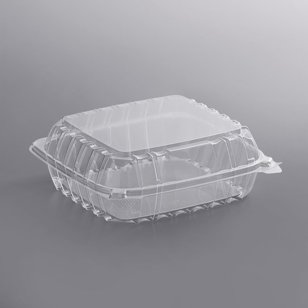Dart C90PST1 ClearSeal 8 5/16 inch x 8 5/16 inch x 3 inch Hinged Lid Plastic Container - 250/Case