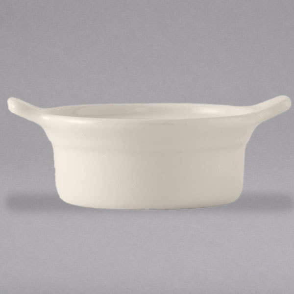 Tuxton BES-1004 DuraTux 10 oz. Ivory (American White) China Casserole Dish with Handles - 12/Case