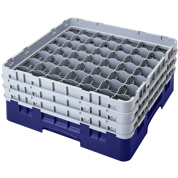"Cambro 49S800186 Navy Blue Camrack Customizable 49 Compartment 8 1/2"" Glass Rack"