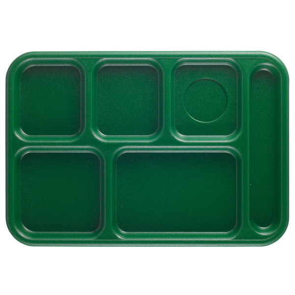 """Cambro 10146CW119 Camwear 10"""" x 14 1/2"""" Sherwood Green 6 Compartment Serving Tray - 24/Case Main Image 1"""