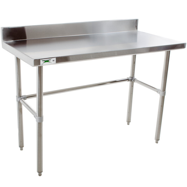 "Regency 24"" x 48"" 16-Gauge 304 Stainless Steel Commercial Open Base Work Table with 4"" Backsplash"