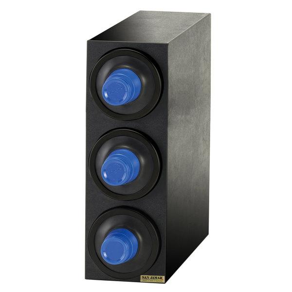 San Jamar C2903BK EZ-Fit Black 3-Slot 8 - 46 oz. Cup Dispenser Cabinet with Black Trim Ring