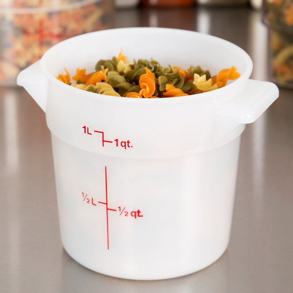Cambro RFS1148 1 Qt Round White Food Storage Container