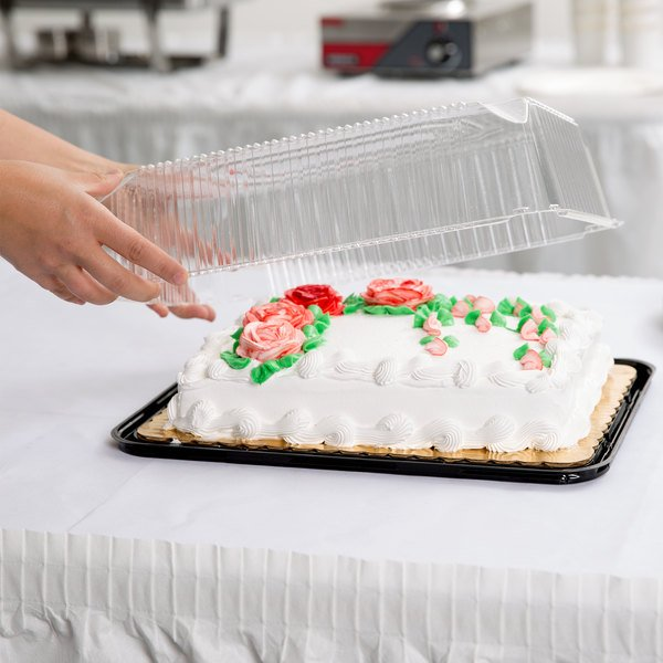 D&W Fine Pack G83-1 1/4 Size 1-2 Layer Sheet Cake Display Container with Clear Lid - 10/Pack