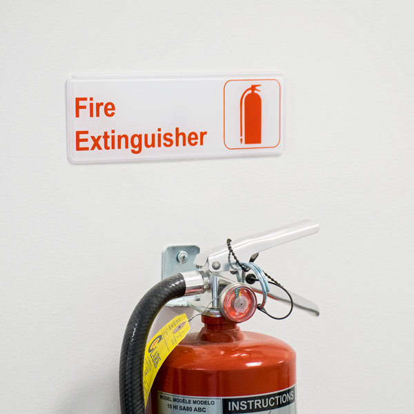 "Fire Extinguisher Sign - Red and White, 9"" x 3"""