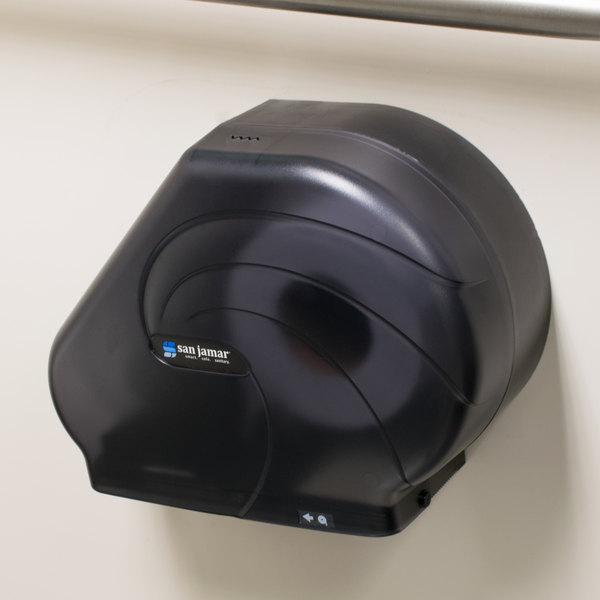 """San Jamar R3090TBK Reserva Oceans 9"""" - 10 1/2"""" Jumbo Toilet Tissue Dispenser - Black Pearl"""