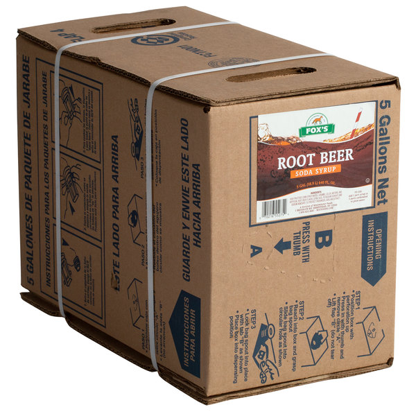 Fox's 5 Gallon Bag In Box Root Beer Beverage / Soda Syrup