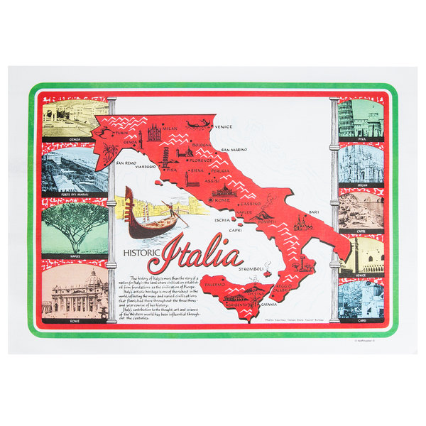 Hoffmaster 702022 10 inch x 14 inch Historic Italia Paper Placemat - 1000 / Case