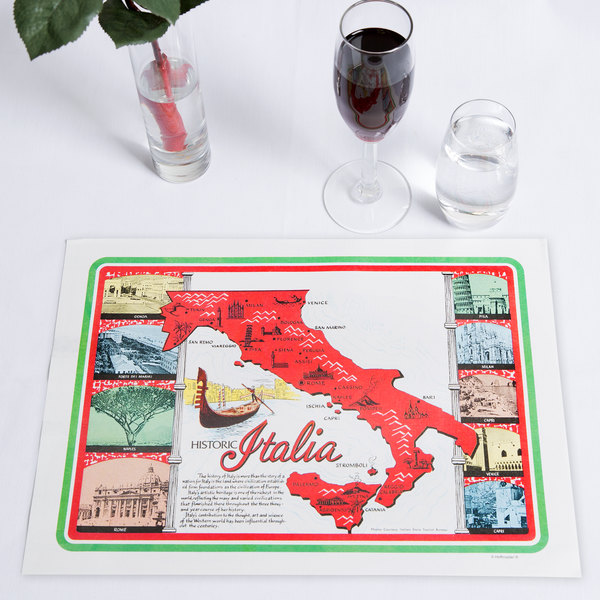"Hoffmaster 702022 10"" x 14"" Historic Italia Paper Placemat - 1000/Case Main Image 6"