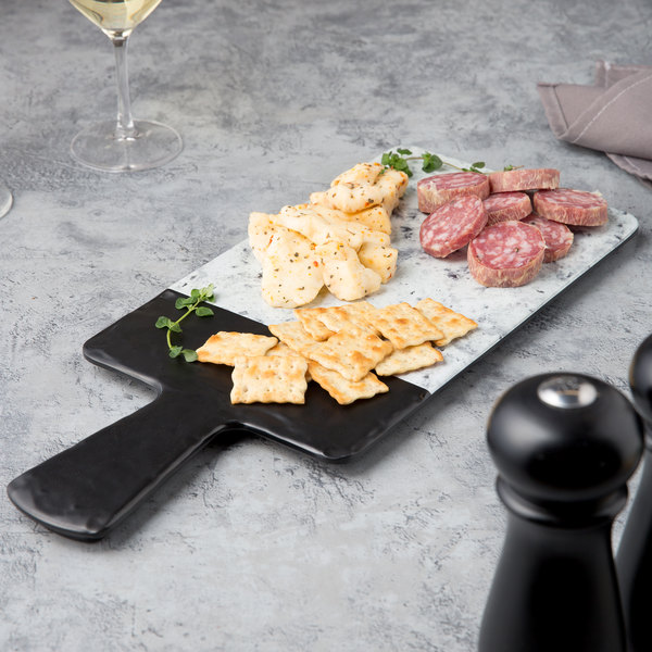 """Elite Global Solutions M127RCSM Horizon Slate 12"""" x 7"""" Faux Slate and Marble Rectangular Serving Board with Handle Main Image 5"""