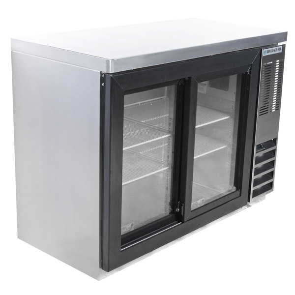 "Beverage-Air BB48HC-1-GS-S-27 48"" SS Back Bar Refrigerator with Sliding Glass Doors and Stainless Steel Top - 115V Main Image 1"