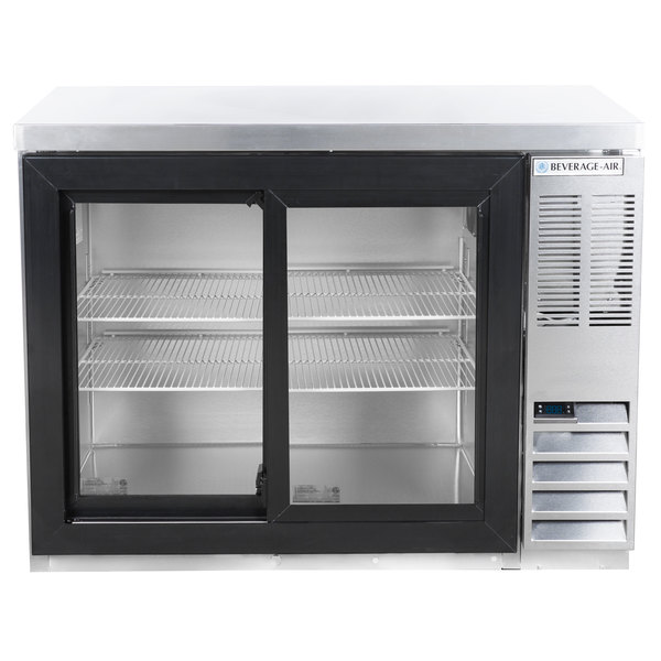 """Beverage-Air BB48HC-1-GS-S-27 48"""" SS Back Bar Refrigerator with Sliding Glass Doors and Stainless Steel Top - 115V"""