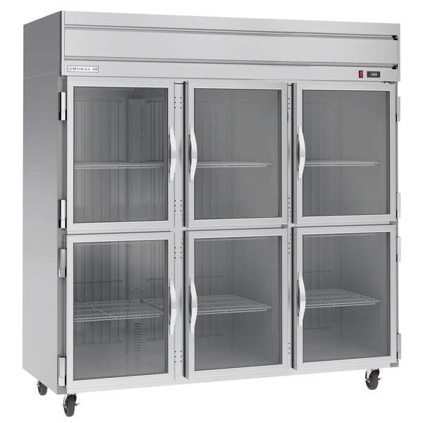 Beverage-Air HF3-5HG 3 Section Glass Half Door Reach-In Freezer - 74 cu. ft., Stainless Steel Front, Gray Exterior