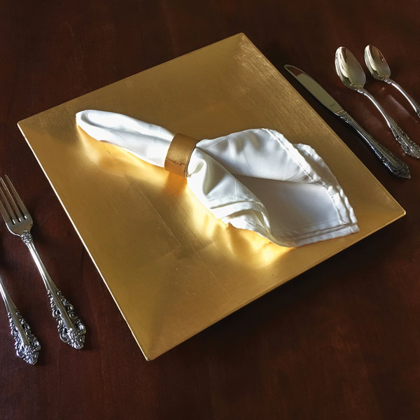 """Tabletop Classics by Walco TRG-6670 13"""" Gold Square Polypropylene Charger Plate"""