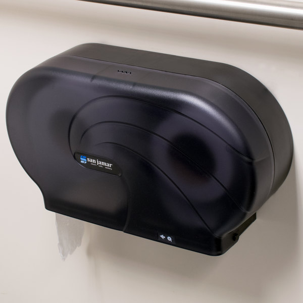 "San Jamar R4090TBK Twin Oceans 9"" Double Roll Jumbo Toilet Tissue Dispenser - Black Pearl"