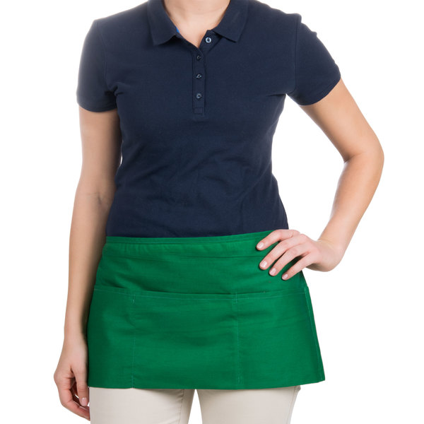 """Choice 12"""" x 26"""" Kelly Green Front of the House Waist Apron"""