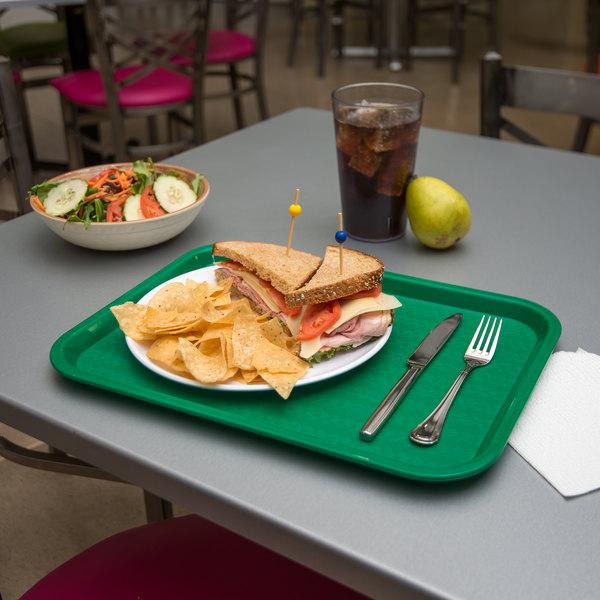 "Carlisle CT121609 Cafe 12"" x 16"" Green Standard Plastic Fast Food Tray - 24/Case"