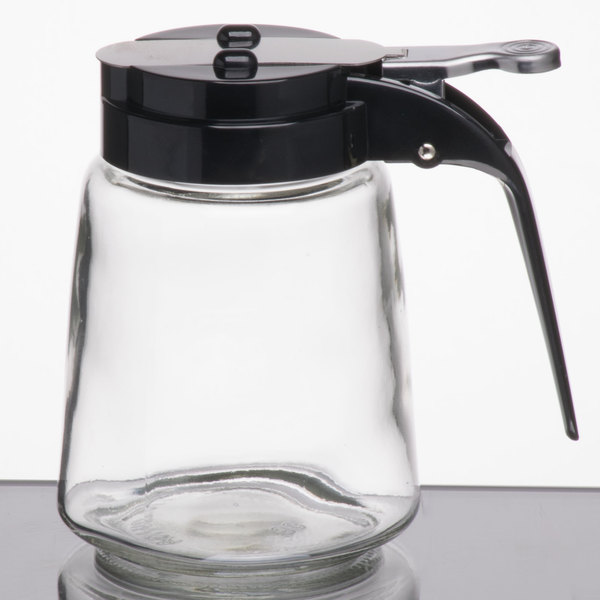 Tablecraft 1370bk 8 Oz Glass Modern Syrup Dispenser With Black Abs Top 12 Pack