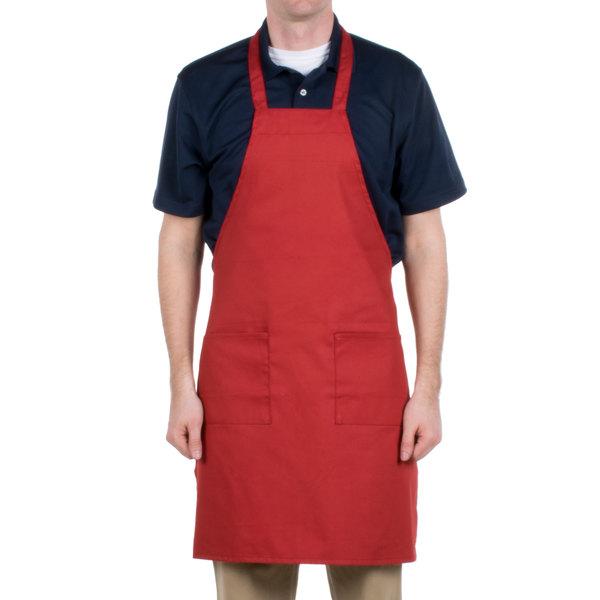 Choice Red Full Length Bib Apron with Pockets - 34 inchL x 30 inchW