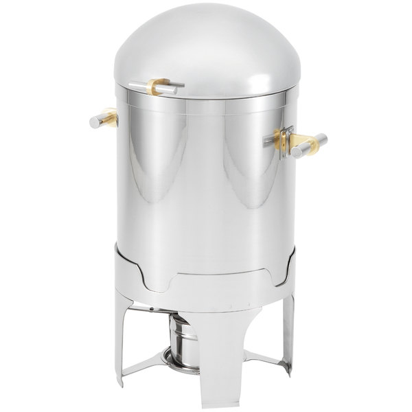 Vollrath 48790 7 Qt. Silverplated New York, New York Soup / Gravy Chafer with Brass Trim Main Image 1