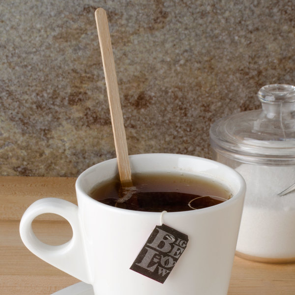 """Royal Paper R825W 7 1/2"""" Eco-Friendly Wood Individually Wrapped Coffee Stirrer - 500/Pack"""