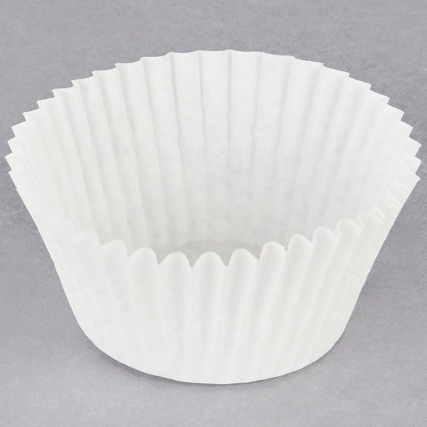 Hoffmaster 610060 2 1/4 inch x 1 5/8 inch White Fluted Baking Cup - 10000/Case