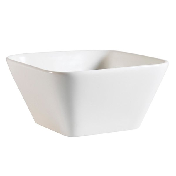 CAC PLT-B6 Bone White 22 oz. Square Porcelain Bowl - 36/Case
