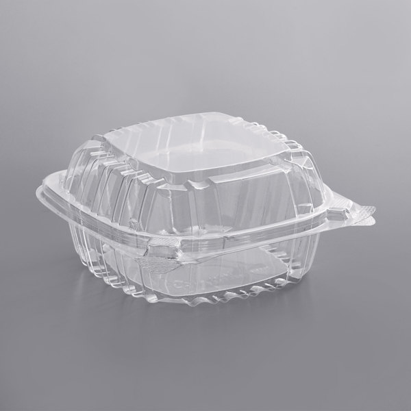 Dart C53PST1 ClearSeal 5 3/8 inch x 5 1/4 inch x 2 5/8 inch Hinged Lid Plastic Container - 500/Case