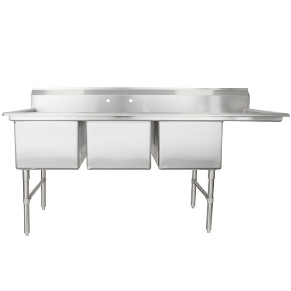"Right Drainboard Regency 78 1/2"" 16-Gauge Stainless Steel Three Compartment Commercial Sink with 1 Drainboard - 18"" x 24"" x 14"" Bowls"