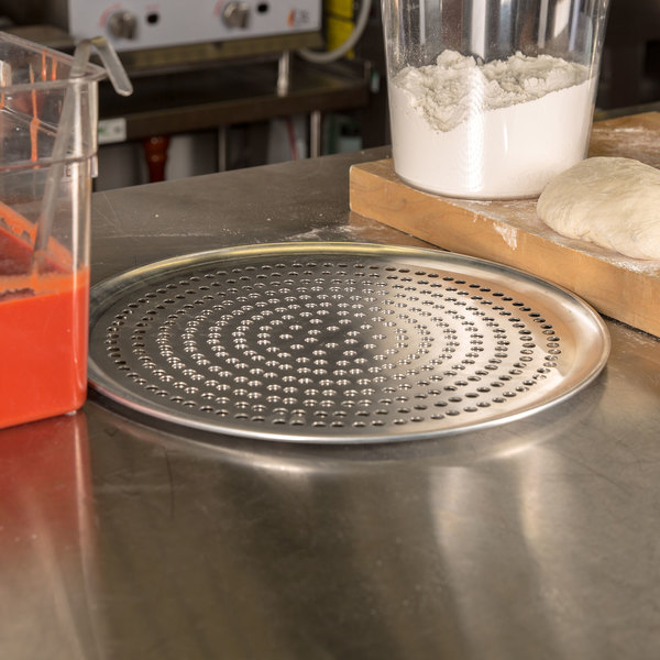 """American Metalcraft SPCTP14 14"""" Super Perforated Standard Weight Aluminum Coupe Pizza Pan Main Image 2"""
