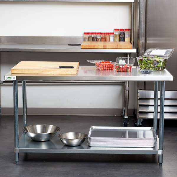 Regency 30 X 60 18 Gauge 304 Stainless Steel Commercial Work Table With Galvanized Legs And Undershelf