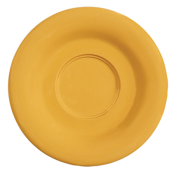 "GET SU-3-TY Diamond Mardi Gras 5 1/2"" Tropical Yellow Melamine Saucer for GET B-105, BC-70, BC-170, B-454, and C-107 Bowls and Mugs - 48/Case"