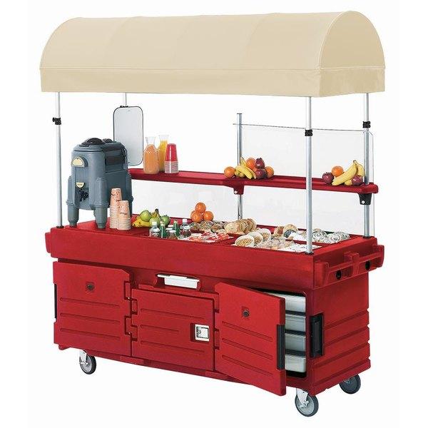 Cambro KVC856C158 CamKiosk Hot Red Vending Cart with 6 Pan Wells and Canopy Main Image 1