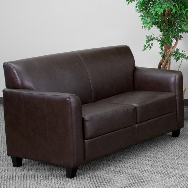 Flash Furniture BT-827-2-BN-GG Hercules Diplomat Brown Leather Loveseat with Wooden Feet Main Image 3