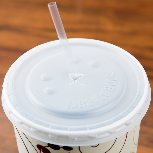 Solo L44BN-0100 32-44 oz. Translucent Plastic Lid with Straw Slot and Identification Buttons - 960/Case Main Image 4