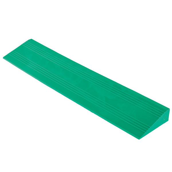 "Cactus Mat 2557-GFCR Poly-Lok 2 1/2"" x 14"" Green Vinyl Interlocking Drainage Floor Tile Corner Ramp with Female End - 3/4"" Thick Main Image 1"