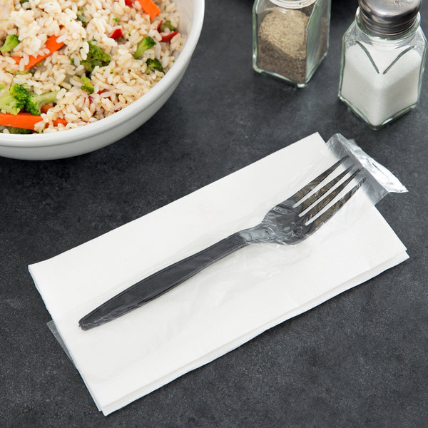 Visions Individually Wrapped Black Heavy Weight Plastic Fork - 250/Pack