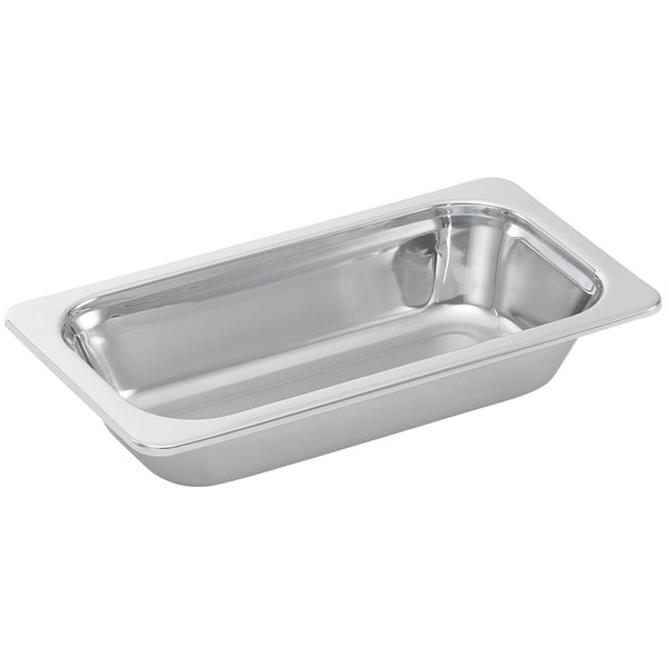 """Vollrath 8231005 Miramar® 1/3 Size Mirror-Finished Stainless Steel Steam Table Food Pan - 4"""" Deep"""