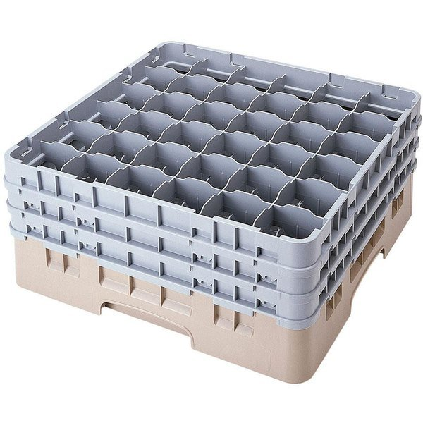 "Cambro 36S638184 Beige Camrack Customizable 36 Compartment 6 7/8"" Glass Rack Main Image 1"
